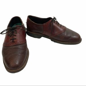 H.S. Trask oxfords brown 2 tone lace up shoes